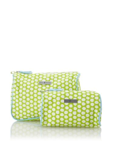 Julie Brown Set of 2 Cosmetic Bags (Green Polka)