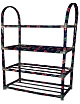 Portable Folding Shoe Rack Organizer Book Cloth Big Shelf Metal 4 Layer Shoerack
