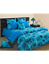 Swayam Printed Cotton Double Bedsheet with 2 Pillow Covers - Turquoise