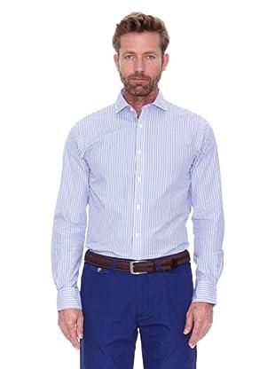Cortefiel Camisa Raya Bicolor Coderas (Azul Marino)