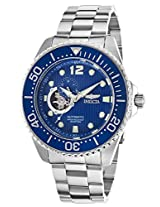 Men'S Pro Diver Automatic Partially Skeletonized Blue Textured Dial Stainless Steel (15388)