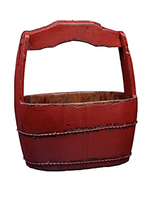 Antique Revival Shanghai-Style Water Bucket, Red