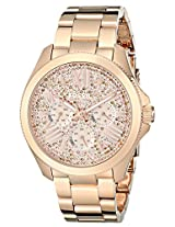 Fossil Womens AM4604 Cecile Multifunction Stainless Steel Watch - Rose Gold-Tone with Pave Glitz Dial