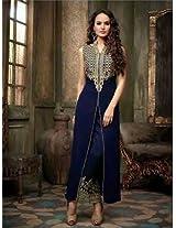 Shree Fashion Woman's Georgette With Dupatta [Shree (77)_Blue]
