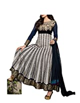 Admyrin Navy Blue viscose Georgette Salwar Suit with Dupatta