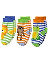 Jefferies Socks Baby Boys' Jungle Lion Monkey Frog 3 Pair Pack Socks