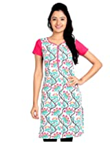 eSTYLe Magenta Cotton Kurta With Floral Printed