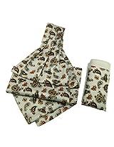 Classic Paisley Cravat in Silver-Cream-Bug-White with Pocket Square | Color Multicolour