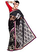 Zoom Embroidered Saree (3178_Black Red)