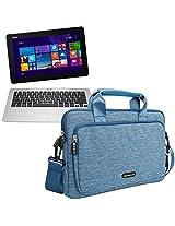Evecase ASUS Transformer Book T200TA 12-Inch Tablet Laptop Shoulder Bag / Suit Fabric Multi-functional Briefcase Carrying Messenger Case Tote Bag w/ Handle and Shoulder Strap - Blue