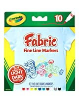 Crayola Fine Line Fabric Markers, 10 Count