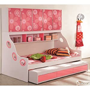 Mebelkart Bunk Bed For Girls - Pink