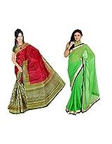 Somya Chiffon Saree With Blouse Piece (C003_114_110 -Neon Green)