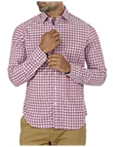 London Fog Men Casual Spread Collar Checkered Slim Full Sleeve Shirt