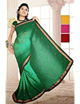 Alluring Green Faux Georgette Embroidered Saree