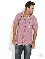 Checked Hoodie Shirt-Red-40