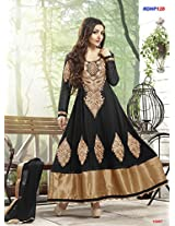 Rozdeal Women Georgette Embroidered Unstitched Long Sleeve Black Anarkali Suit
