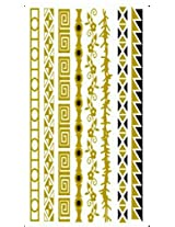 Metallic Gold Silver Black Jewelry Inspired Temporary Bling Tattoo by Eufouria Inc. YW-046