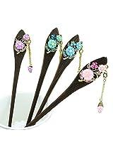 Finger Love Handmade Wooden Tassel Hair Pin Alloy Hair Stick: Flower (Green)