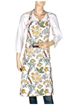 Comfortable Hand Block Printed White Apron Cotton Floral By Rajrang