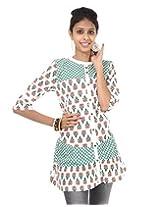 Rajrang Cotton Green, White Screen Printed Tunic Top, Size: S