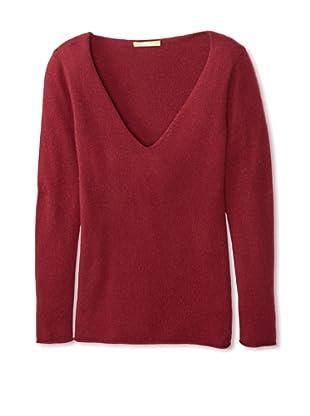 Kier & J Women's Cashmere V-Neck Sweater (Grenade)