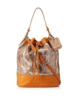 Charlotte Ronson Women's Silver Snake Duffle Bag, Cognac, One Size