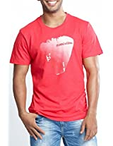 Masculino Latino Casual Red T-shirts Round Neck for Men MLT1001B-XL