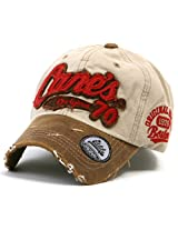ililily Distressed Vintage Cotton embroidered Baseball Cap Snapback Trucker Hat Beige AD