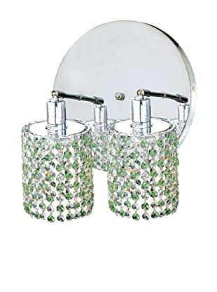 Elegant Lighting Mini Crystal Collection 2-Light Round Wall Sconce, Light Peridot