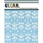 Clear Scraps CSSM6-DMSK Translucent Plastic Film Stencil, Damask, 6-Inch x 6-Inch