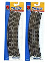 """Ho Scale 18 Inch Radius Curved Track 2 Pack Contains A Total Of 8 Pieces Of 18"""" Radius Curved Rail Joiner Track With Steel Rails"""