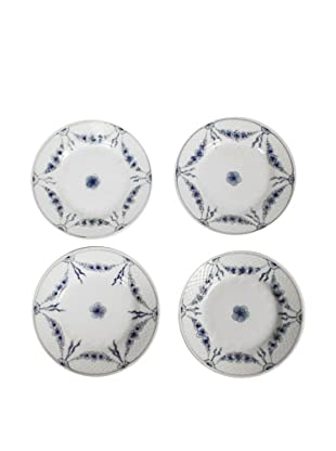 Set of 4 Bandg Empire Blue Dessert Plates, White/Blue
