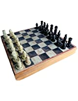 StonKraft Handcarved Chess Board with Wooden Base but Stone Inlaid Work - Chess Game Board Set with Handcrafted Natural Stone Piece