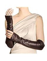WARMEN Women Genuine Nappa Leather Elbow Long Fingerless Driving Gloves for Fur Coat (M, Brown)