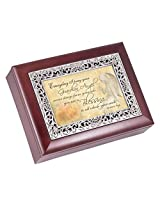 Guardian Angels Rosewood Finish with Silver Inlay Jewelry Music Box - Plays Tune Wonderful World