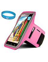 Sumaccn Pink Adjustable Running Sports Gym Armband Case Cover