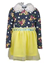 Real Princess Net Yellow Dress For Kids-Girls (Age Group: 6-7 Years)