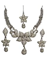 Exotic India Floral Necklace Set with Tika - White Metal with Cut Glass