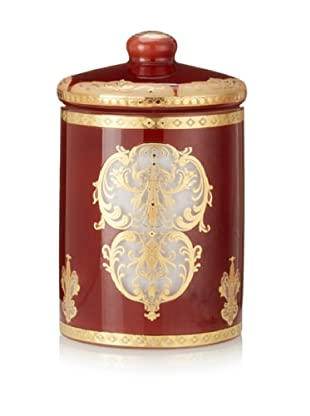 Opulent Burnt Copper and Gold Design Wax Filled Glass Jar with Lid, Vanilla Orchid Scent