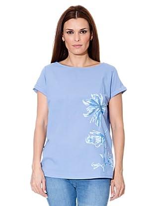 Cortefiel T-Shirt Blume (Blau)