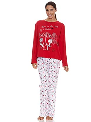 Blue Dreams Pijama Señora Punto Liso (Rojo)