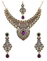 Voylla Charm Purple Green Stone Embellished Maangtika Necklace Set