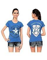 Texco Women's Round Neck T-Shirt (TC0049W-002_Blue_X-Large)