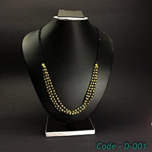 Chanchal Dokra Hand-crafted neckpiece with 3 chains of brass and black beads