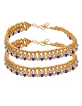 Voylla Kundan Anklets Studded With Blue & Pearl Beads