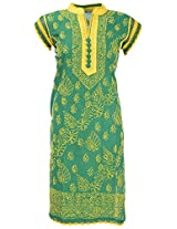 Chopra Enterprises Women's Cotton kurti (Ceckcrslvm, Green, 38)