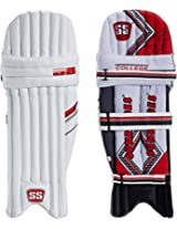 SS College RH Batting Legguard, Men's (White/Red)