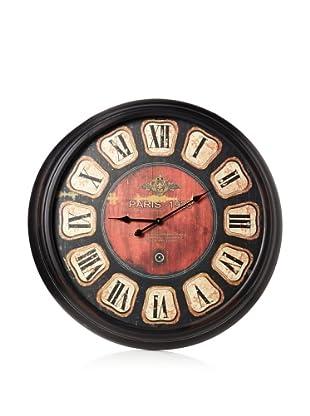 Oversize Metal-Framed Clock, Black/Red