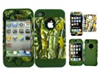 Combo For Iphone 4 4S Army Green Soft Skin W/ Camo Big Branch Hard Case